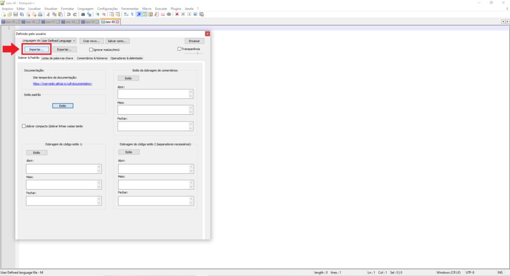 Imagem demonstrando onde clicar para importação do xml