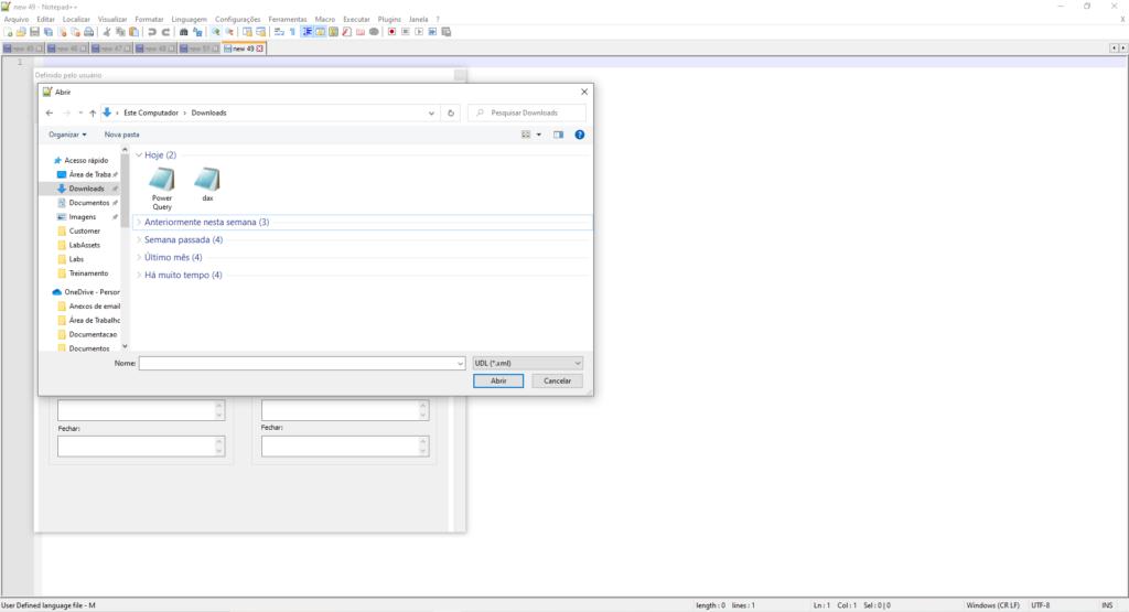 Imagem demonstrando a abertura dos arquivos xml