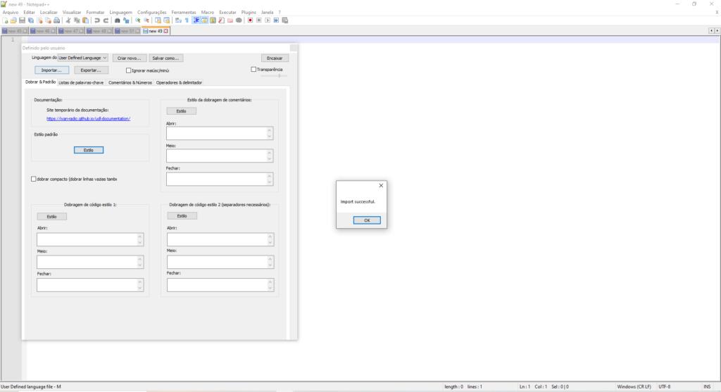 Imagem demonstrando sucesso ao importar os arquivos xml