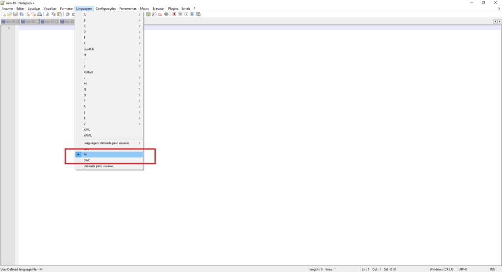 Imagem demonstrando onde ficam as formatações de linguagem do Notepad++