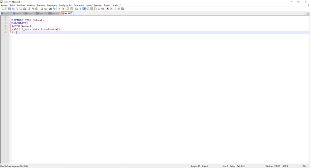 Imagem demonstrando o código dax com formatação e cores