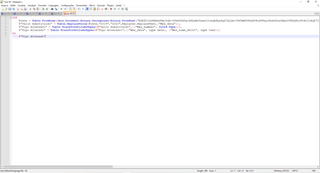 Imagem demonstrando o código M com formatação e cores