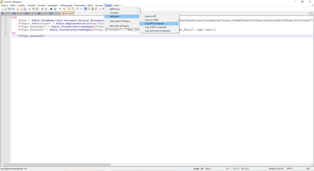 Imagem demonstrando como copiar o código M com formatação e cores para outros lugares