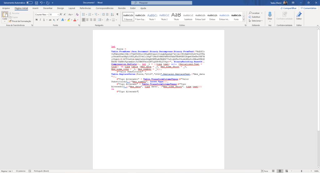 Imagem demonstrando o código M colado no Microsoft Word com formatação e cores